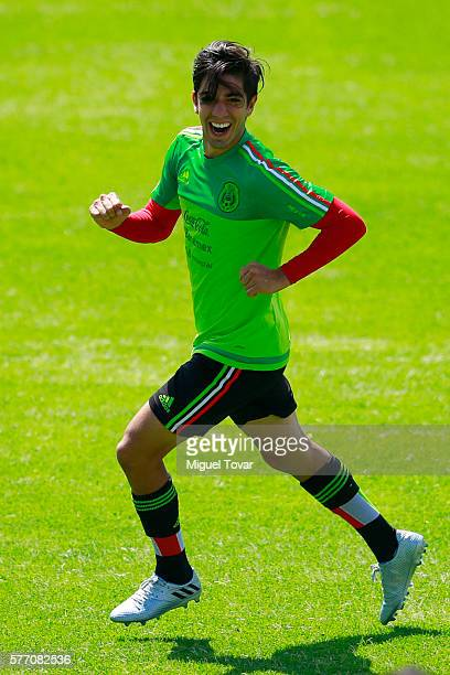Rodolfo Pizarro runs during a training session ahead of the friendly match between Mexico and Argentina at CAR on July 18 2016 in Mexico City Mexico...