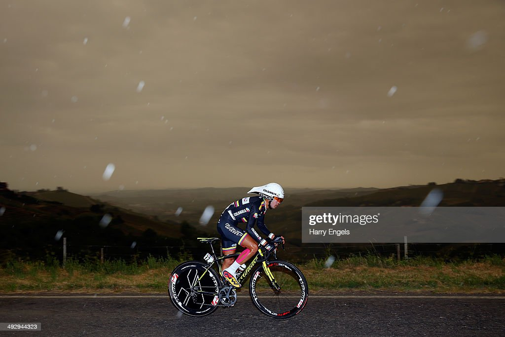 Rodolfo Torres of Colombia and team Colombia in action during the twelfth stage of the 2014 Giro d'Italia, a 42km Individual Time Trial stage between Barbarasco and Barolo on May 22, 2014 in Barbarasco, Italy.