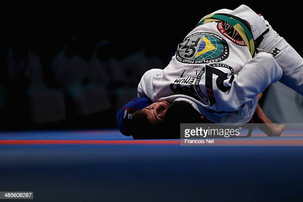 Rodolfo Veiera of Brazil competes against Marcos Almeida of Brazil in the Men's black belt open weight finals during the Abu Dhabi World Professional...