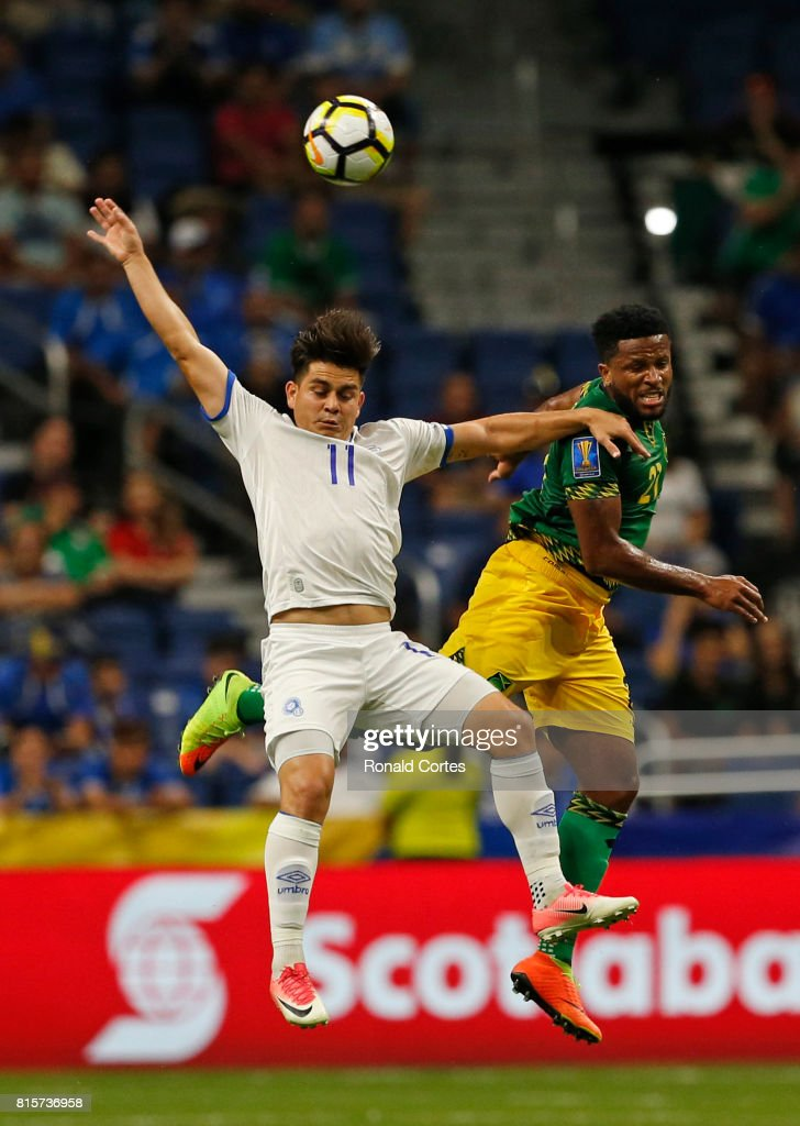 Rodolfo Zelaya #11 of El Salvador battles Jermaine Taylor #21 of Jamaica in the first half during the 2017 CONCACAF Gold Cup at Alamodome on July 16, 2017 in San Antonio,Texas.