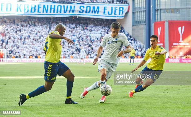 Rodolph Austin of Brondby IF Benjamin Verbic of FC Copenhagen and Svenn Crone of Brondby IF compete for the ball during the Danish Cup Final DBU...