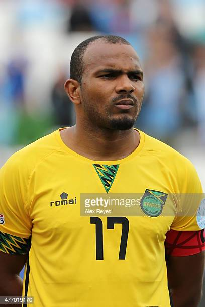 Rodolph Austin of Jamaica looks on during the national anthem ceremony prior the 2015 Copa America Chile Group B match between Uruguay and Jamaica at...