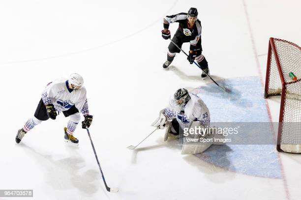 Rodolphe Brunetti of Flying French Goalie in action during the Mega Ice Hockey 5s match between Nordic Vikings and Flying French on May 04 2018 in...