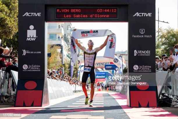 Rodolphe Von Berg of United States celebrates winning the men's IRONMAN 70.3 Les Sables d'Olonne on September 06, 2020 in Les Sables d'Olonne, France.