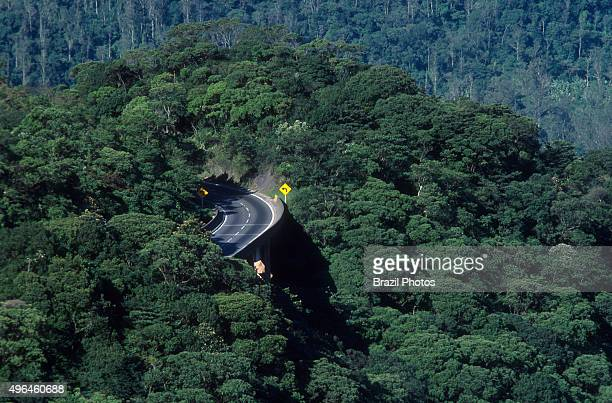 Rodovia Anchieta a highway connection between Sao Paulo city and the Atlantic coast the cities of Cubatao and Santos in Brazil In the plateau the...
