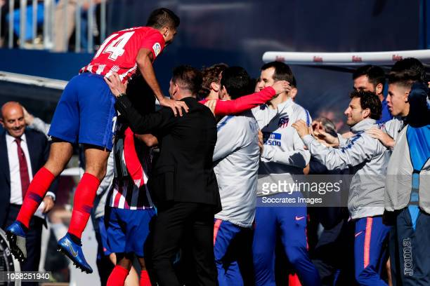 Rodri of Atletico Madrid coach Diego Simeone of Atletico Madrid during the La Liga Santander match between Leganes v Atletico Madrid at the Estadio...