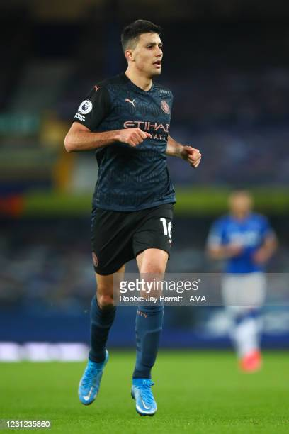 Rodri of Manchester City during the Premier League match between Everton and Manchester City at Goodison Park on February 17, 2021 in Liverpool,...