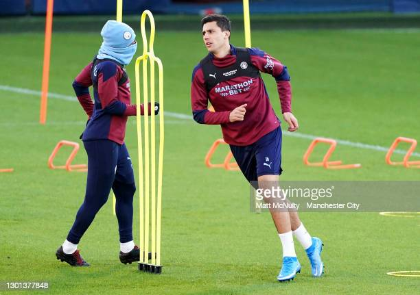 Rodri of Manchester City in action during a training session at Manchester City Football Academy on February 09, 2021 in Manchester, England.