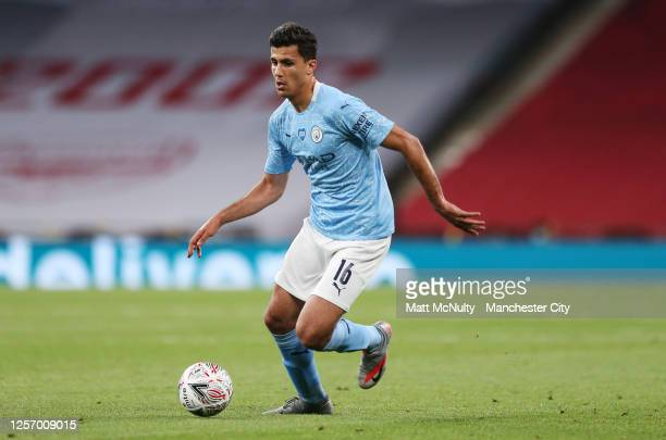 Rodri of Manchester City in action during the FA Cup Semi Final match between Arsenal and Manchester City at Wembley Stadium on July 18 2020 in...