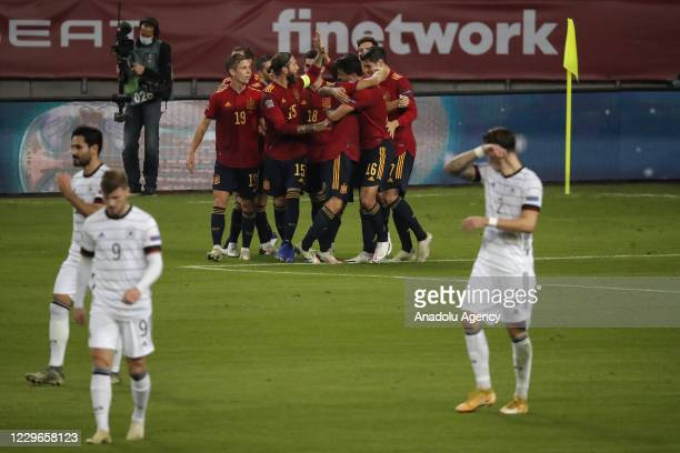 Rodri of Spain celebrates with teammates after scoring team's third goal during the UEFA Nations League Group stage League A Group 4 soccer match...