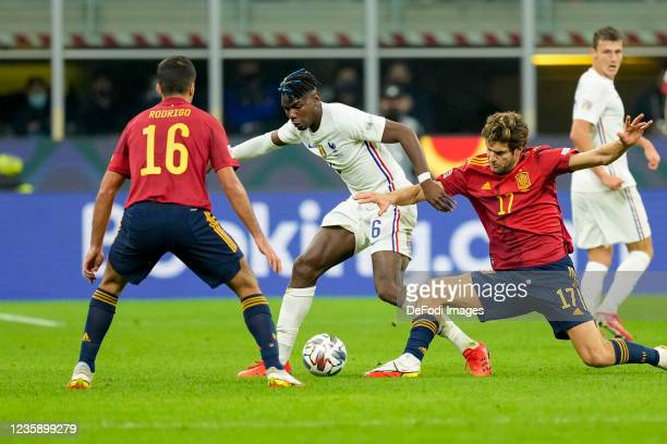 Rodri of Spain, Paul Pogba of France and Marcos Alonso of Spain battle for the ball during the UEFA Nations League Final match between the Spain and...