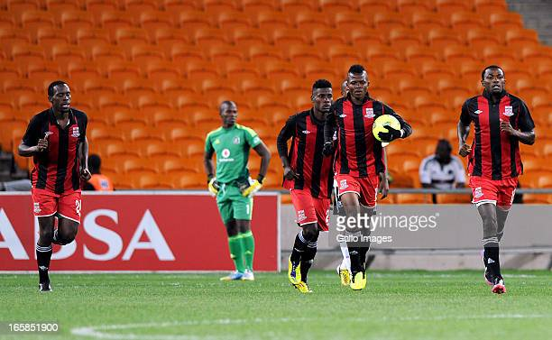 Rodrick Kwabe celebrating his goal with team mates during the CAF Confedaration Cup match between Orlando Pirates and Zanaco at FNB Stadium on April...