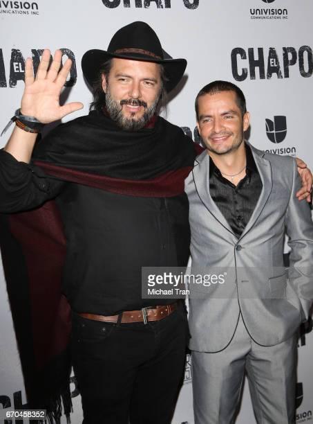 Rodrigo Abed and Juan Carlos Olivas arrive at the Los Angeles premiere of Univison's El Chapo hel at Landmark Theatre on April 19 2017 in Los Angeles...