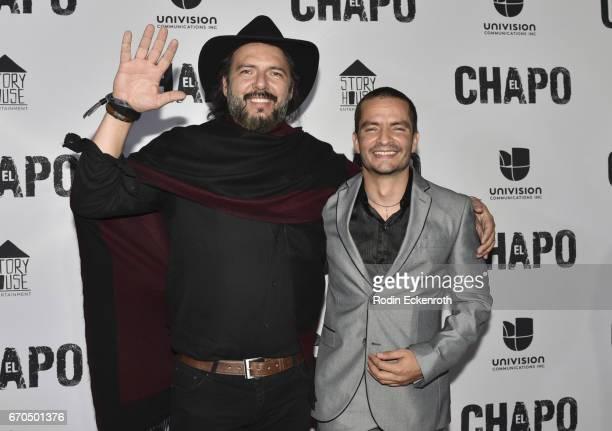 Rodrigo Abed and Juan Carlos Olivas attend the premiere of Univison's El Chapo at Landmark Theatre on April 19 2017 in Los Angeles California