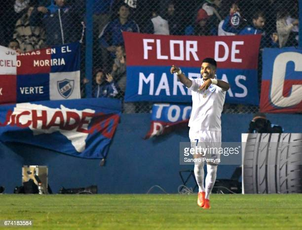 Rodrigo Aguirre of Nacional celebrates his score the second of his team during a match between Nacional and Chapecoense as part of Copa CONMEBOL...