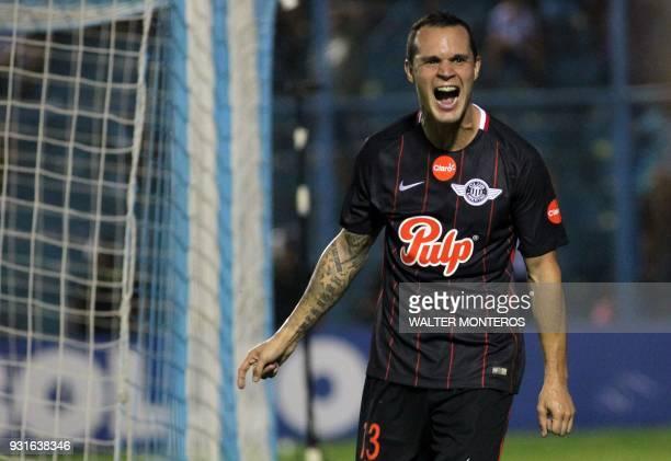 Rodrigo Alborno of Paraguayan Libertad celebrates a goal against Argentinian Atletico Tucuman during a 2018 Libertadores Cup football match at the...