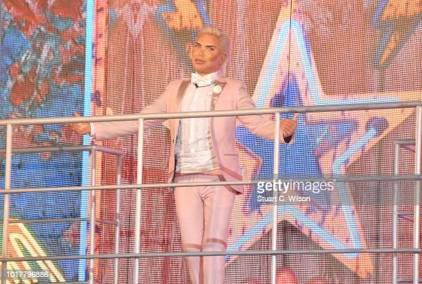 Rodrigo Alves aka Human Ken Doll enters the Celebrity Big Brother house at Elstree Studios on August 16 2018 in Borehamwood England
