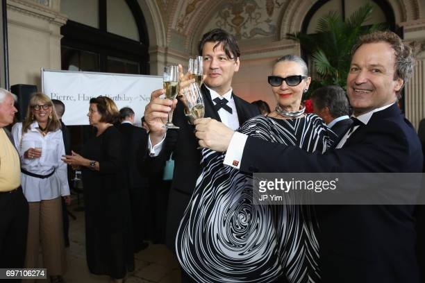 Rodrigo Basilicata Maryse Gaspard and Matthew Gonder attend Pierre Cardin's 95th Birthday Celebration during the Pierre Cardin 70 Years of Innovation...