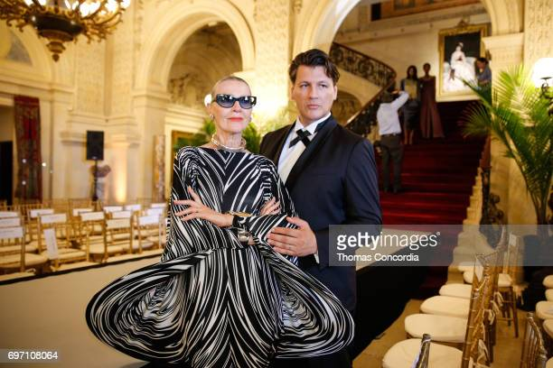 Rodrigo Basilicati and Maryse Gaspard after the Pierre Cardin 70 Years Of Innovation fashion show at The Breakers on June 17 2017 in Newport Rhode...