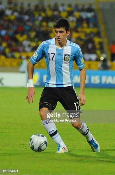 Rodrigo Battaglia from Argentina conducts the ball during the match between Argentina and Portugal as part of the U20 World Cup Colombia 2011 at...