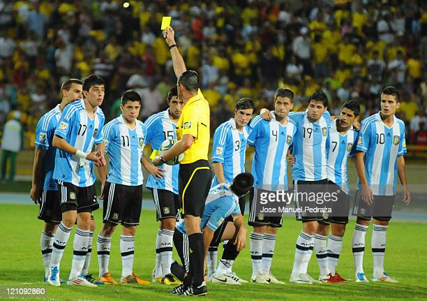Rodrigo Battaglia from Argentina receives the yellor card in the penalty shoot out the match between Argentina and Portugal as part of the U20 World...