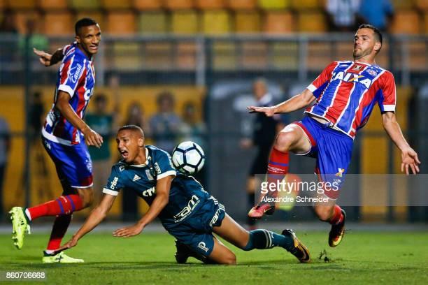 Rodrigo Becao of Bahia Deyverson of Palmeiras and Juninho Capixaba of Bahia in action during the match between Palmeiras v Bahia for the Brasileirao...