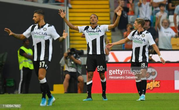 Rodrigo Becao of Udinese Calcio celebrates after scoring the opening goal during the Serie A match between Udinese Calcio and AC Milan at Stadio...