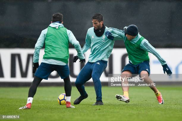 Rodrigo Bentancur and Ferdinando Del Sole during a Juventus Training Session at Juventus Center Vinovo on February 6 2018 in Vinovo Italy