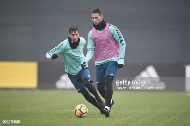 Rodrigo Bentancur and Marko Pjaca during a Juventus Training Session at Juventus Center Vinovo on January 1 2018 in Vinovo Italy