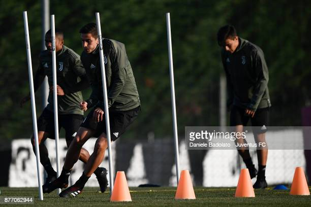 Rodrigo Bentancur during the Champions League training session at Juventus Center Vinovo on November 21 2017 in Vinovo Italy