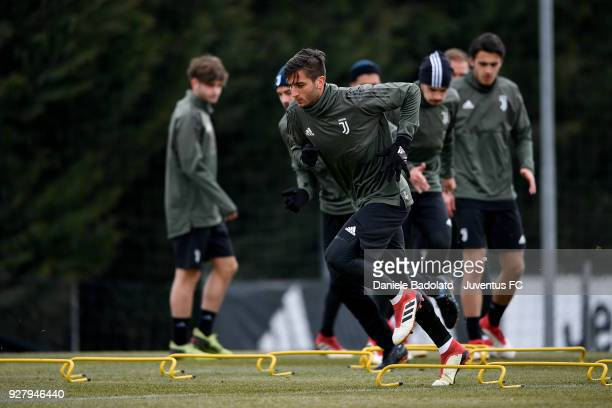 Rodrigo Bentancur during the training session before the Champions League match between Tottenham Hotspur and Juventus at Juventus Center Vinovo on...