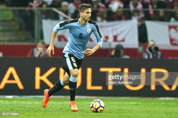 Rodrigo Bentancur from Uruguay controls the ball while Poland v Uruguay International Friendly soccer match at National Stadium on November 10 2017...