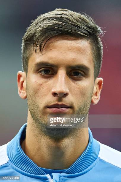 Rodrigo Bentancur from Uruguay looks forward while national anthem before Poland v Uruguay International Friendly soccer match at National Stadium on...