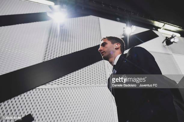 Rodrigo Bentancur of Juventus arrives at Allianz Stadium before the Serie A match between Juventus and Cagliari on November 3 2018 in Turin Italy
