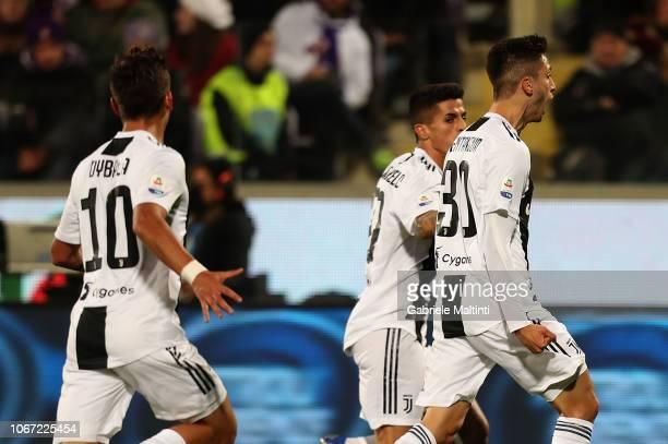 Rodrigo Bentancur of Juventus celebrates after scoring a goal during the Serie A match between ACF Fiorentina and Juventus at Stadio Artemio Franchi...