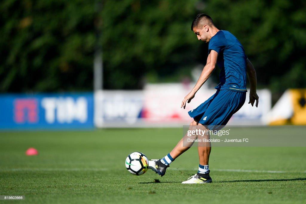 Rodrigo Bentancur of Juventus during a training session on July 16, 2017 in Vinovo, Italy.