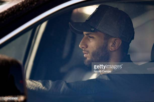 Rodrigo Bentancur of Juventus FC arrives by car to the Continassa training ground to attend a training session Serie A plans to resume its season on...
