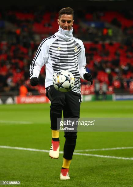 Rodrigo Bentancur of Juventus FC during the prematch warmup during UEFA Champions League Round of 16 2nd Leg match Tottenham Hotspur against Juventus...