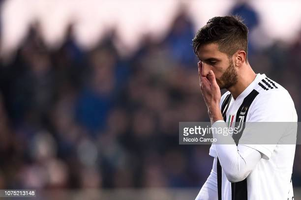 Rodrigo Bentancur of Juventus FC looks dejected after he was sent off during the Serie A football match between Atalanta BC and Juventus FC. The...