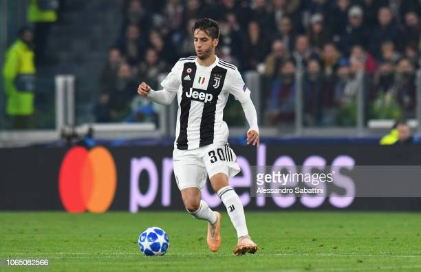 Rodrigo Bentancur of Juventus in action during the Group H match of the UEFA Champions League between Juventus and Manchester United at on November...