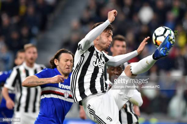 Rodrigo Bentancur of Juventus in action during the serie A match between Juventus and UC Sampdoria at Allianz Stadium on April 15 2018 in Turin Italy