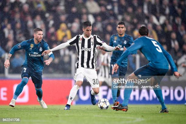Rodrigo Bentancur of Juventus in action during the UEFA Champions League Quarter Final Leg One match between Juventus and Real Madrid at Allianz...