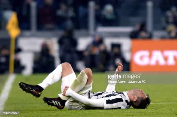 Rodrigo Bentancur of Juventus injured during the TIM Cup match between Juventus and Genoa CFC at Allianz Stadium on December 20 2017 in Turin Italy