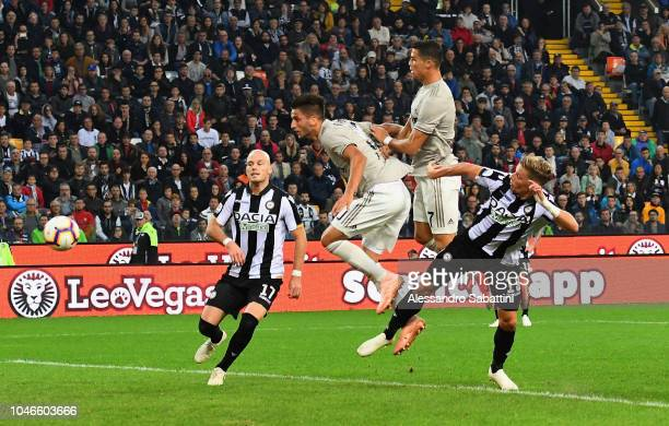 Rodrigo Bentancur of Juventus scores the opening goal during the Serie A match between Udinese and Juventus at Stadio Friuli on October 6 2018 in...