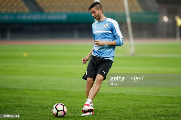 Rodrigo Bentancur of Uruguay attends a training session ahead of the 2018 China Cup International Football Championship on March 21 2018 in Nanning...