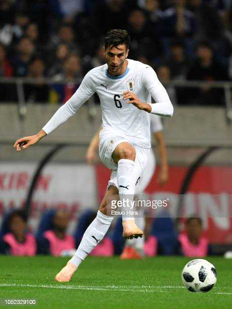 Rodrigo Bentancur of Uruguay in action during the international friendly match between Japan and Uruguay at Saitama Stadium on October 16, 2018 in...