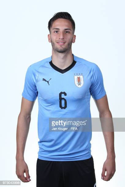 Rodrigo Bentancur of Uruguay poses for a portrait during the official FIFA World Cup 2018 portrait session at Borsky Sport Centre on June 12 2018 in...