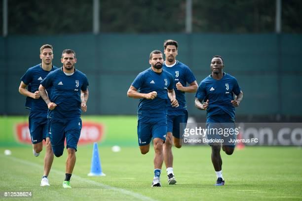 Rodrigo Bentancur Stefano Sturaro Tomas Rincon Sami Khedira Kwadwo Asamoah of Juventus during the morining training session on July 11 2017 in Vinovo...