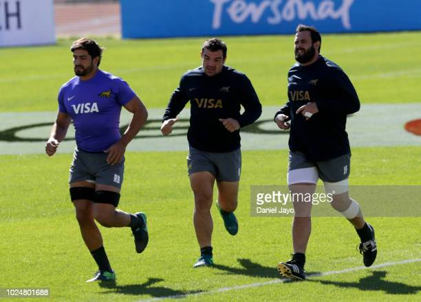 Rodrigo Bruni Agustin Creevy and Juan Figallo warm up during Argentina Captain's Run before the The Rugby Championship 2018 match against South...