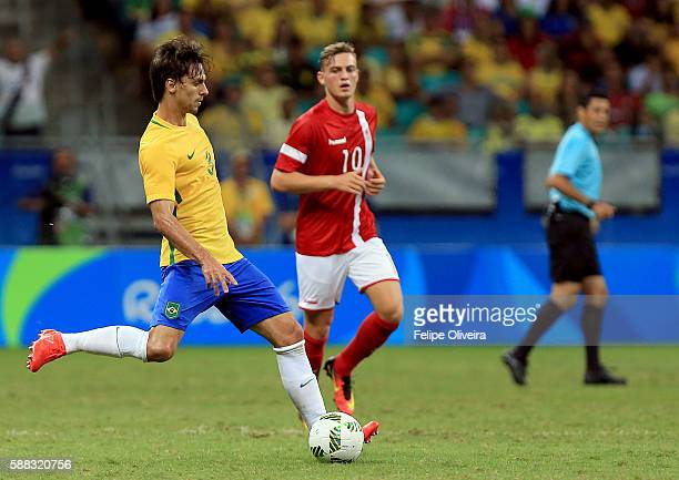 Rodrigo Caio of Brazil in action during the match Brazil v Denmark on Day 5 of the Rio 2016 Olympic Games at Arena Fonte Nova on August 10 2016 in...